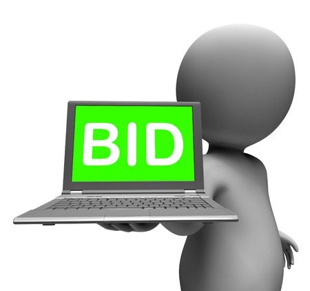 auction win: Bid Laptop Character Showing Bids Bidding Or Auction Online