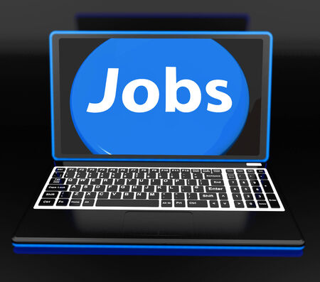 jobless: Jobs On Laptop Showing Unemployment Jobless Or Hiring Online