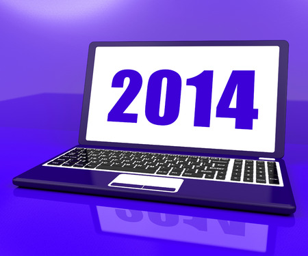 two thousand and fourteen: Two Thousand And Fourteen On Laptop Showing Year 2014