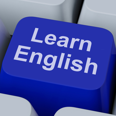 linguistics: Learn English Key Showing Studying Language Online Stock Photo