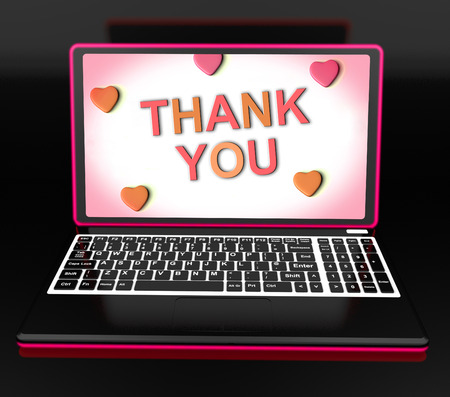 gratefulness: Thank You On Laptop Showing Appreciation Thanks And Gratefulness