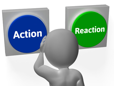 cause and effect: Action Reaction Buttons Showing Control Or Effect