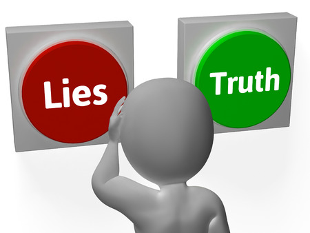 Lies Truth Buttons Showing Untrue Or Correct photo