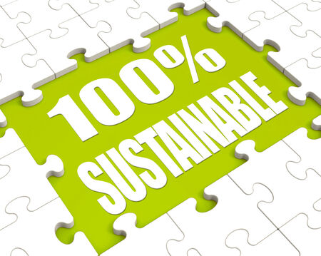sustained: 100% Sustainable Puzzle Showing Environment Protected And Recycling Stock Photo