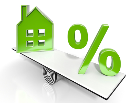real estate investment: House And Percent Sign Means Real Estate Investment Or Discount