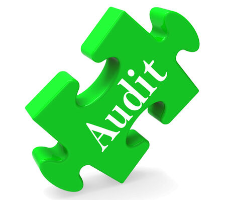 validation: Audit Puzzle Showing Auditor Validation Scrutiny Or Inspection Stock Photo