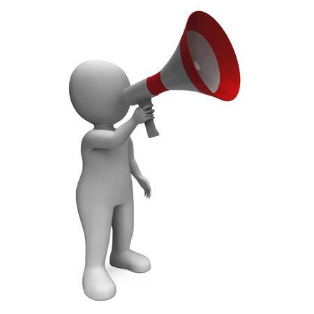 loudhailer: Loud Hailer Car�cter Mostrando Radiodifusi�n proclamar y meg�fono