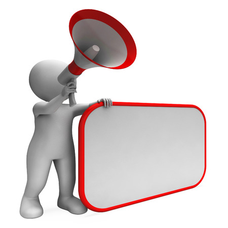 loudhailer: Loud Hailer And Blank Placard Showing Copy Space Message Or Announcement