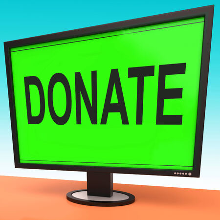 fundraising: Donate Computer Showing Charity Donating And Fundraising