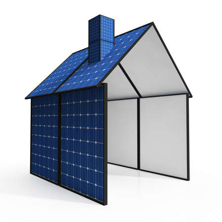 solarpanel: Solar Panel House Showing Renewable Energy Or Power