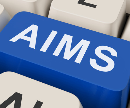 Aims Key Showing Goals Purpose And Aspirations Stock Photo