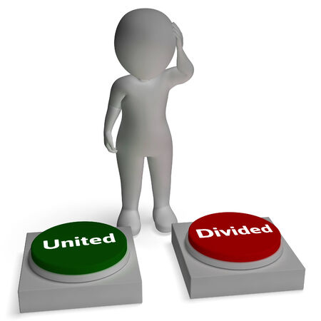 divided: United Divided Buttons Shows Togetherness Or Union Stock Photo