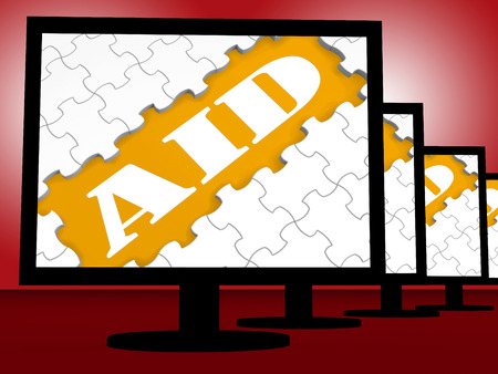 aiding: Aid On Monitor Showing Aiding Helping Or Treatment Stock Photo