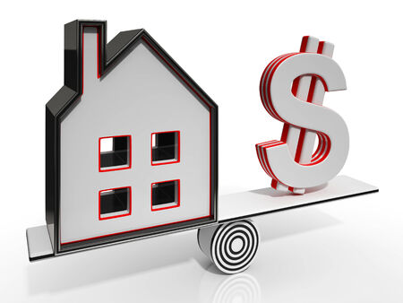 mortgaging: House And Dollar Balancing Showing Investment Or Mortgage