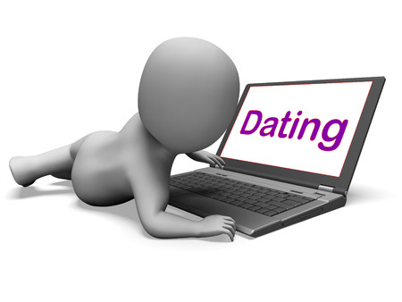 Online Dating Character Laptop Showing Romance And Web Love photo