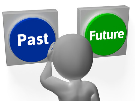 Past Future Buttons Showing Progress Or Time Stock Photo