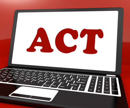 encouraged: Act On Laptop Showing Motivate Inspire Or Performing