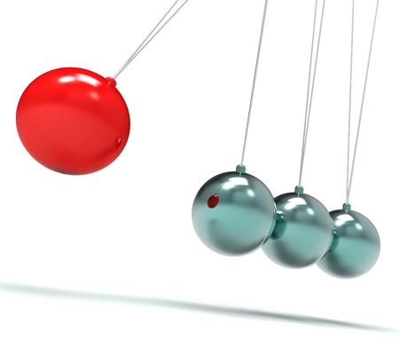 gravitational: Newton Cradle Showing Energy Motion And Action