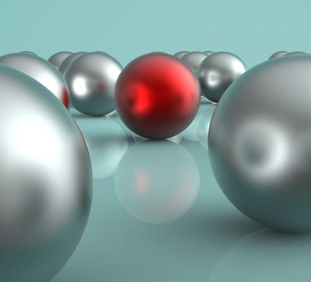 accomplishing: Standing Out Metallic Balls Showing Leadership And Vision