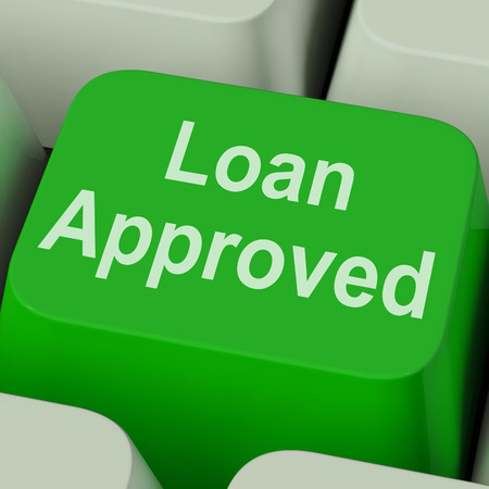 Loan Approved Key Showing Credit Lending Agreement photo