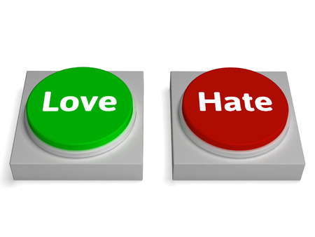 Love Hate Buttons Showing Appraise Or Hateful