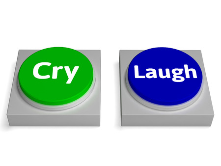 cheerless: Cry Laugh Buttons Showing Crying Or Laughing