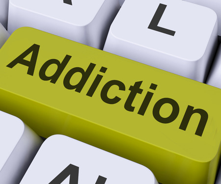 vulnerability: Addiction Key On Keyboard Meaning Vulnerability Or Obsession  Stock Photo