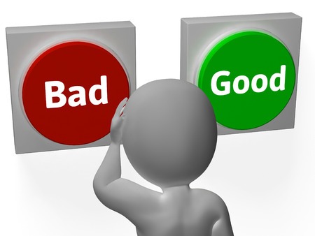 approvement: Bad Good Buttons Showing Failure Or Approved Stock Photo