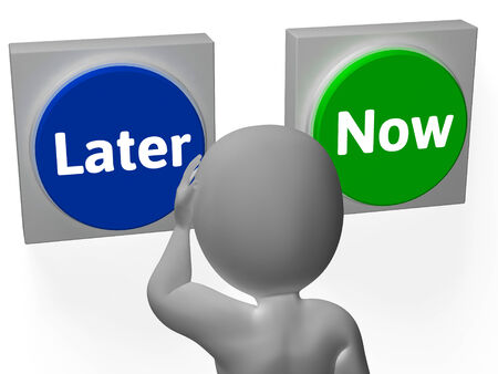 later: Later Now Buttons Showing Wasting Time Or Procastination Stock Photo