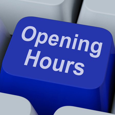 opening hours: Opening Hours Key Showing Retail Business Open