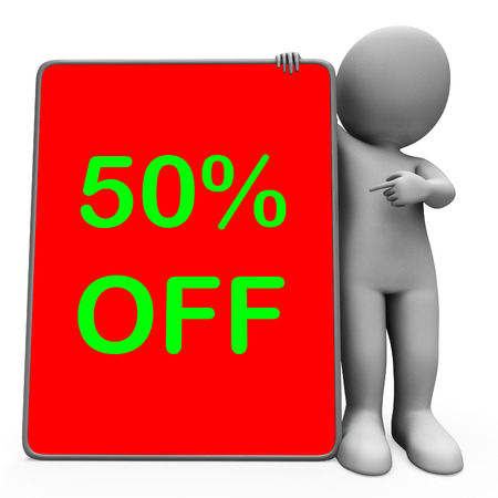 discounted: Fifty Percent Off Tablet Character Meaning 50% Reduction Or Sale Online