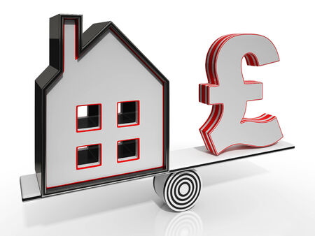 mortgaging: House And Pound Balancing Show Investment Or Mortgage
