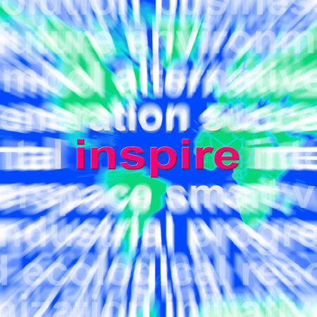 encouraged: Inspiration Word Cloud Showing Motivation And Encouragement Stock Photo