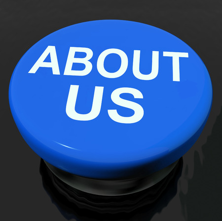 about us: About Us Button Showing Information or Reports Stock Photo