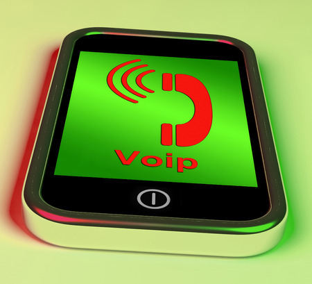 Voip On Phone Showing Voice Over Internet Protocol Or Ip Telephony photo