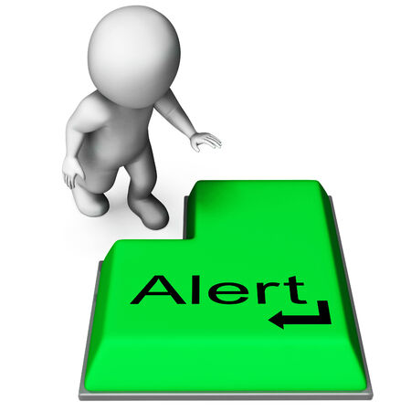 notification: Alert Key Showing Online Notification Or Reminder Stock Photo