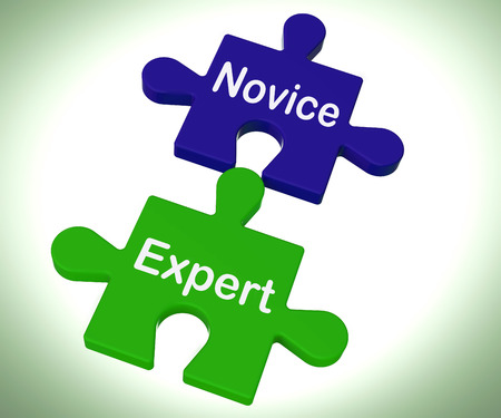 novice: Novice Expert Puzzle Showing Unskilled And Professional