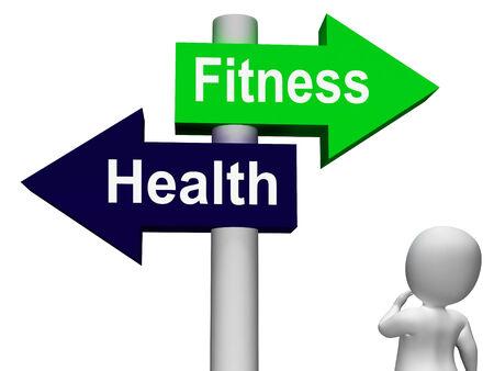fitness and health: Fitness Salute Signpost mostrando stile di vita sano