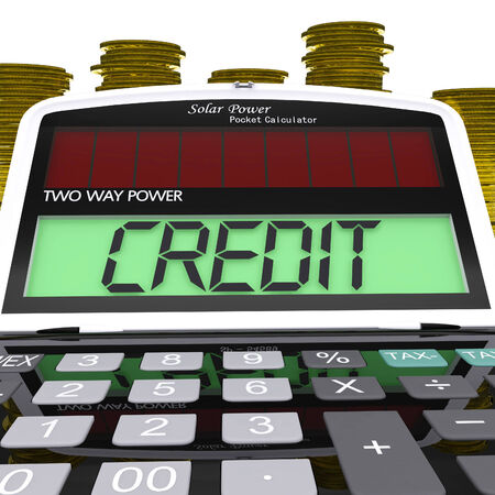 Credit Calculator Meaning Loan Money And Financing Stock Photo - 26065712