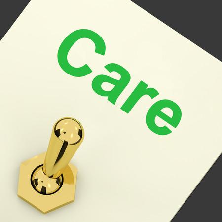 preocupacion: Interruptor Care Mostrando preocupaci�n cuidadosa Caring