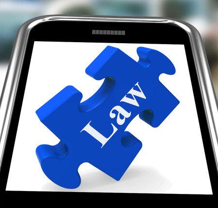 lawfulness: Law Smartphone Meaning Justice And Legal Information Online Stock Photo