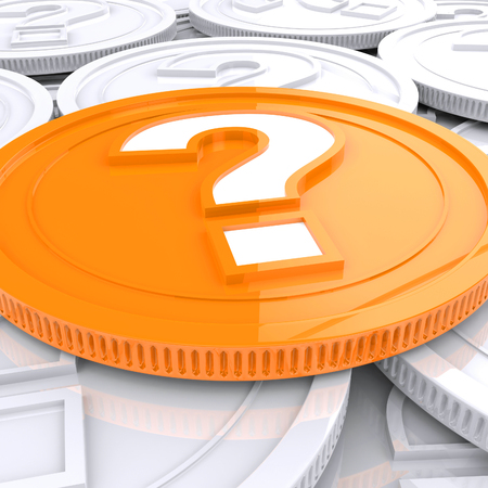 speculate: Question Mark Coin Showing Speculation About Finances Stock Photo