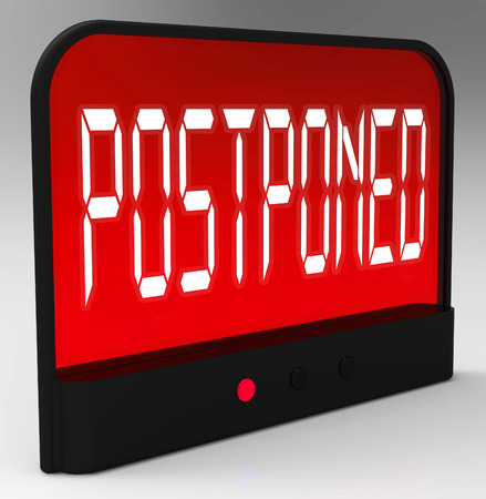 later: Postponed Clock Meaning Delayed Until Later Time Stock Photo