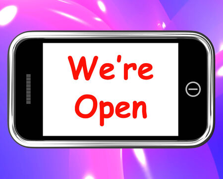 were: Were Open On Phone Showing New Store Launch