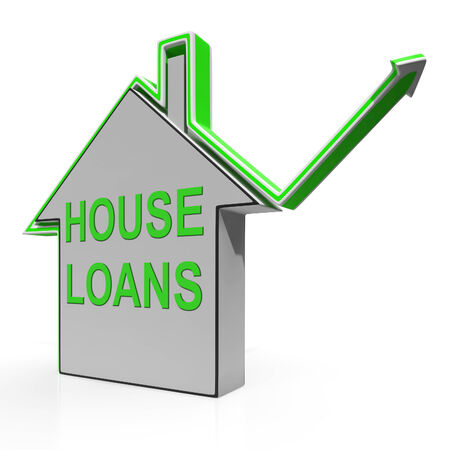 borrowing: House Loans Home Meaning Borrowing And Mortgage Stock Photo