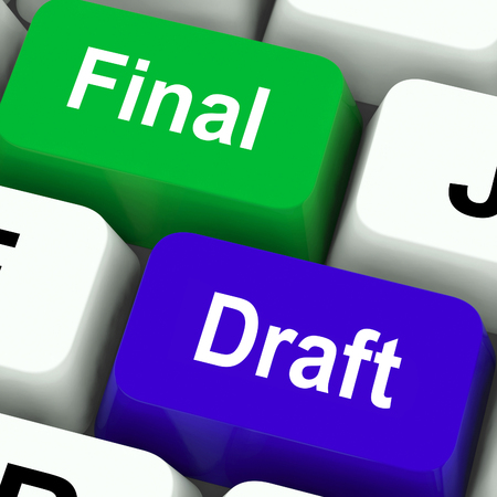 rewriting: Final Draft Keys Showing Editing And Rewriting Document Stock Photo