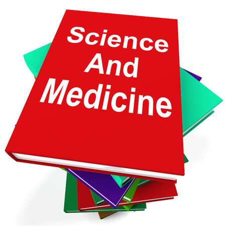 Science And Medicine Book Stack Showing Medical Research photo