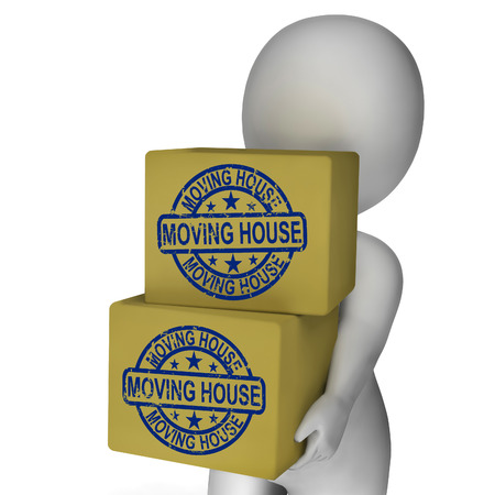 removal van: Moving House Boxes Showing New Property And Relocation