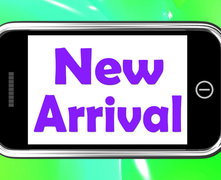 new arrival: New Arrival On Phone Showing Latest Products Collection Stock Photo