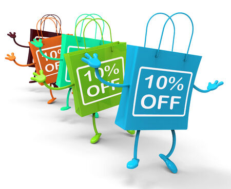 markdown: Ten Percent Off On Colored Shopping Bags Showing Bargains Stock Photo